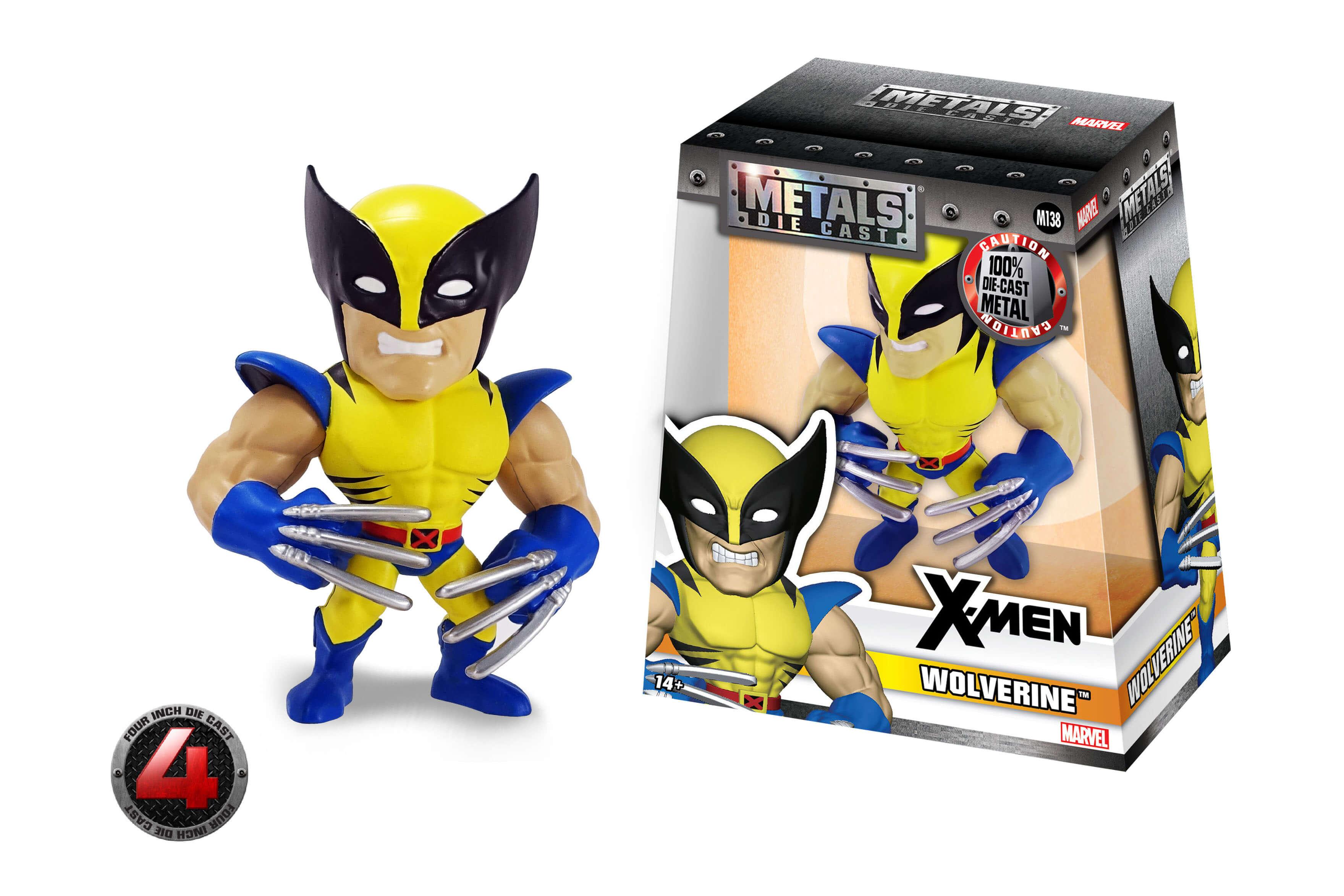 "Marvel Comics Jada X-Men Wolverine M138 4/"" Metals Diecast Action Figure 97902"